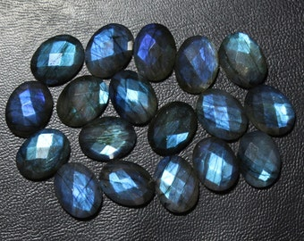 40% Off Natural Blue LABRADORITE, 12x16 mm Size, Faceted Checker Cut Gemstone, Flat Back Oval Shape Labradorite, +++AAA Quality lb#174