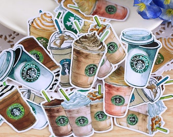 25pcs-Starbuck Sticker,Scrapbooking Stickers,Cut Out Planner Stickers, Cute Stationery, Korean Stationery