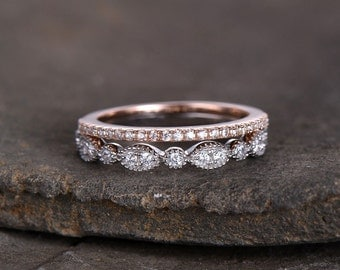 Sterling silver ring SET/Cubic Zirconia wedding band/CZ wedding ring/stack ring/2PCS Matching band/Half eternity ring/Two tone gold plated