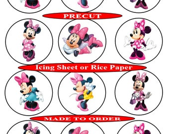 Minnie Mouse pre-cut edible  cupcake toppers, 2 sizes