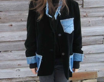 Velvet jacket, denim jacket, upcycled, repurposed