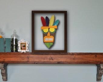 Aku Aku Mask Framed Papercut - Crash Bandicoot Picture Frame Print Cut