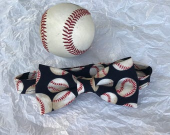 Baseball Bow Tie for Toddlers and Youth; Baby Baseball Bow Tie; Youth Baseball Bowtie; Navy & Cream Baseball Print Bowtie; Baby Bowtie