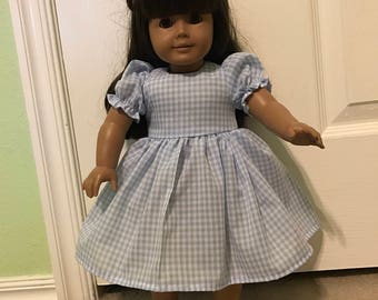 Sweet Blue Gingham Dress for American Girl or Other 18 inch Doll