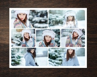 Photo Collage Template 8,5 x 11 #15, 7 photo, Storyboard Template with Normal & Rounded Corners, Photographer Template, PSD template