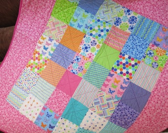 Baby girl quilt, pinks and purples, patchwork quilt, bright colors with fun prints, modern quilt, handmade baby quilt, toddler quilt