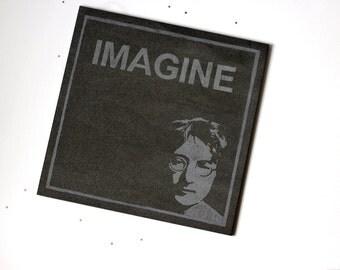 John Lennon Imagine hand engraved large ceramic tile art, tribute to The Beatles.