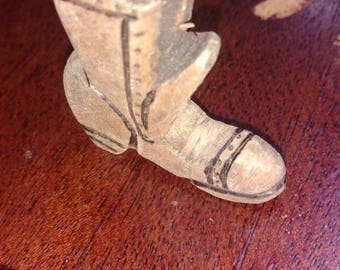 Hand carved wooden boot charm