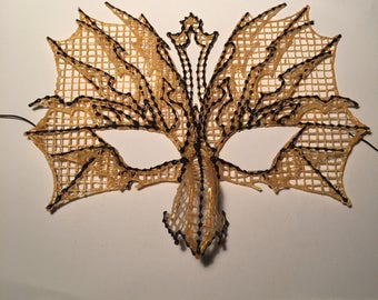 Gold and black dragon mask