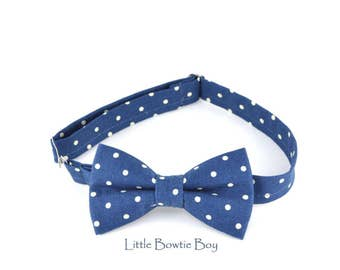 Navy Polka dot bow tie, white polka dot bow tie, toddler boy navy bow tie, fun polka dot bow tie for boys, cotton bow tie for babies