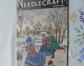 Needlewoman and Needlecraft magazine No 40, iconic sewing, knitting and crafting magazine, with unused embroidery transfer produced in 1949,