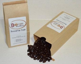 P11- Two 8 oz Bags Gourmet Coffee Beans Burundi Fair Trade, Kenya AA Plus Nguvu, Sumatra Mandheling, Brazil Cerrado
