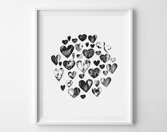 Heart, hearts print, black heart, hearts, heart print, black print, hearts printable