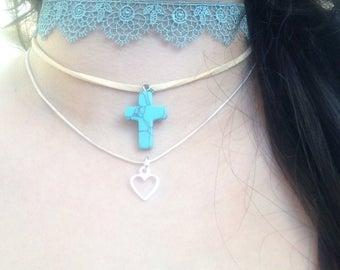 Turquoise Dream,aqua lace cross,tibetan silver,heart,choker,multistrand,necklace,love,boho,hippy,cute,cosplay handmade fantasy necklace