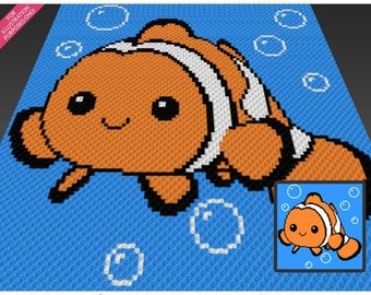 Happy Clownfish crochet blanket pattern; c2c, knitting, cross stitch graph; pdf download; no written counts or row-by-row instructions