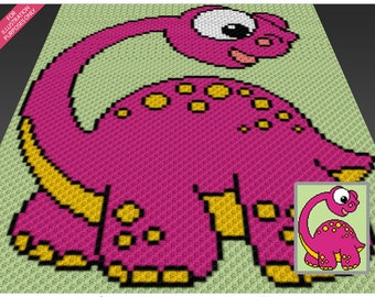Friendly Dinosaur crochet blanket pattern; c2c, knitting, cross stitch graph; pdf download; no written counts or row-by-row instructions
