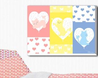 Love Kitties, Fantasy pretty photography on canvas, Art prints, Home decor wall arts, Nursery decor, Living room art.