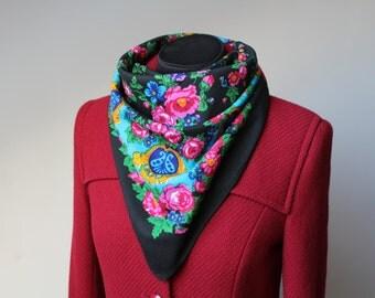 Vintage wool shawl.Russian Shawl.Floral scarf.Scarf.Wedding shawl.Vintage shawl.Black Flower Shawl.Floral shawl.Russian scarf shawl.
