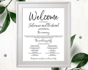 Wedding Welcome Poster-Calligraphy Printable Wedding Program-Wedding Program Poster-Navy Blue Program-Personalised Stylish Hand Lettered