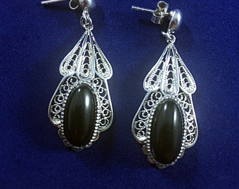 Sterling Silver Earrings Onyx Stone Handmade Filigree made in Macedonia