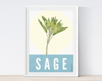 Sage Printable Kitchen Art, Sage Print, Herbs Kitchen Decor, Watercolor Herbs, Herbs Printable, Kitchen Printable, Kitchen Print