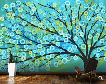 painting tree, scape wallpaper, abstract tree wallpaper, painting wallpaper, teal  wallpaper, paint tree wallpaper, abstract wallpaper