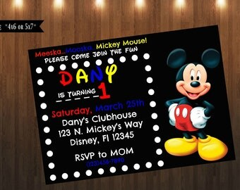 Mickey Mouse Invitation| Digital File Only| 4x6 or 5x7