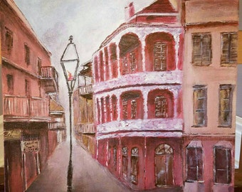Royal Street, New Orleans French Quarters Painting, Wall art, home decor