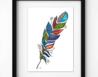 Watercolor Feather Print,  pen and ink, Feather Art, Zentangle art, Original Feather Art,  Boho home decor or nursery. great gift