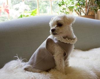 Dog Fleece Top- Warm Gray Dog Top w Neck Ruffle - Dog Sweater- Handmade Pet Top