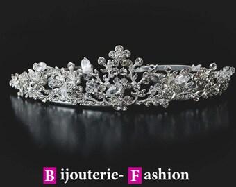 """Diadem """"Wedding"""",Tiara, Crystal Crown,Bridal Tiara,Swarovski Crystal,Wedding tiara,Crown,Czech stones,accessory,royal diadem."""