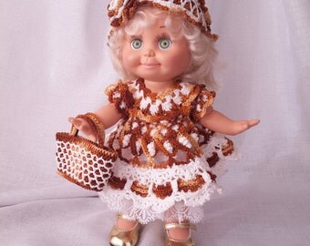 Galoob baby face doll clothes. Crochet dress + crochet head bandage + crochet bag