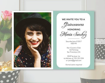 quinceanera invitation template photoshop psd instant download - Quinceanera Invitations Templates