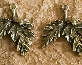 Beautiful Antique Brass Leaf Charms Drops Pair - 30mm -B17