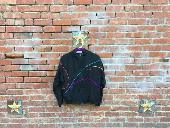 Reebok Wave Jacket / 80s 90s Reebok Windbreaker Black Ponk Purple