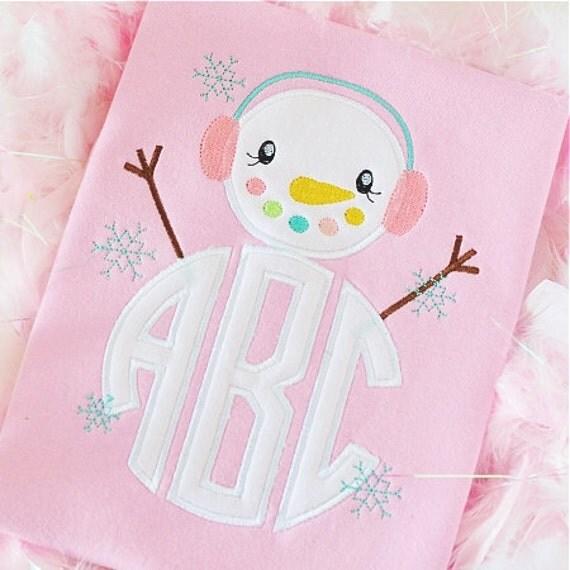 Girls Monogrammed Christmas Shirt, Snowman Ruffled Shirt, Baby Girl Christmas, Sibling Shirt, Big Sister Little Sister Shirt, embroidered