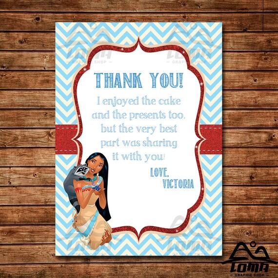 Pocahontas Birthday Thank You, Pocahontas Birthday, Disney Princess Thank You, Princess Birthday Thank You, Pocahontas, Indian Princess