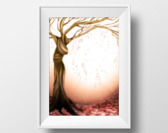 Art Print, Tree of Life, Nature Lovers, The Crying Tree, Instant Download, Wall Art.