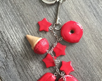 Keychain treats in dark pink polymer clay