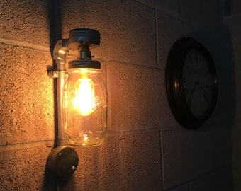 Vintage Industrial Style Wall Light Mason Ball Jar