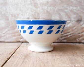 Country kitchen french antique blue checkered Cafe au lait bowl