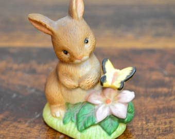 Miniature Rabbit With Butterfly figurine