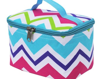 Monogrammed multi-chevron cosmetic case