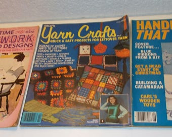 """3 Vintage 1970's Craft Magazines.""""Old Time Needlework Patterns and Designs"""", """"Yarn Craft Leftover Yarn"""", """"Handicrafts that Sell"""""""