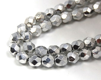 50/pc Shiny Silver Czech 6mm Fire-polished Faceted Round Beads