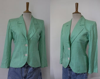 YSL / suit jacket / Blazer fitted Yves Saint laurent 'variation' / Apple green, white / Vichy / size 38/40 / tiles / Vintage retro