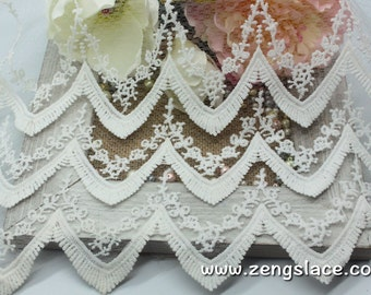 Off-white wide mesh lace fabric with triangle pattern and three embroidery layers, wedding lace trim, bridal lace,by the yard, EL-61