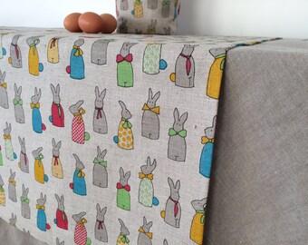 Linen Colorful Table Runner, Easter Linens, Easter Tablecloth Easter Table  Decor Easter