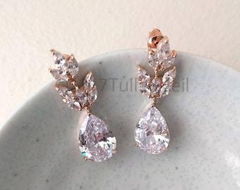Bridal cubic zirconia earrings - Ella