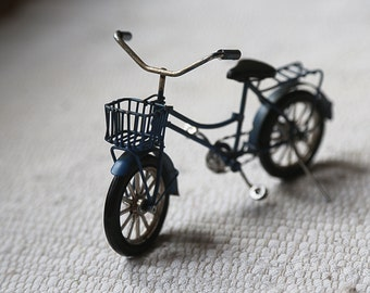 Bicycle for dolls. Blue bike. Accessory. Decor